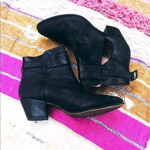 Free People Belleville black leather ankle boots